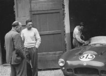HWM Jaguar - 1954 Mille Miglia 1-2.5.54 Reg Parnell left Abecassis centre Frank Nagel right